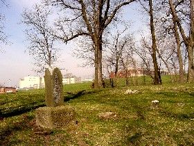 Asylum Cemetery with view of prison, the old asylum in the background, St Joesph, mo