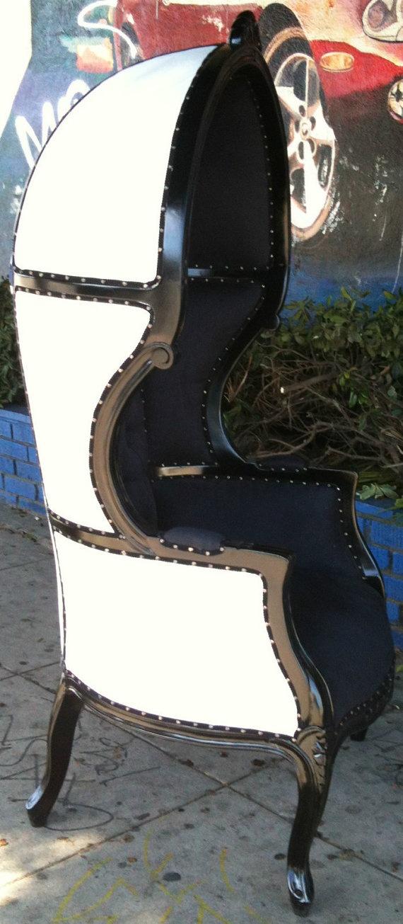 Glamorous White U0026 Black Porters Chair Domed Bonnet Throne Chair. #lampsplus  #mystyle. Salon DecoratingThrone ...