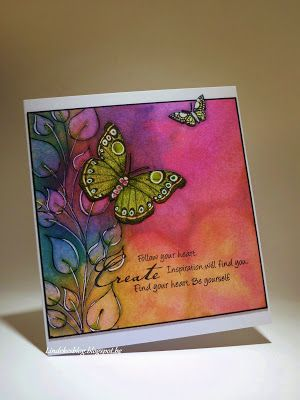 All kind of shades: Vlinderkaart - Dylusions - Butterfly card - i love the colours on this card