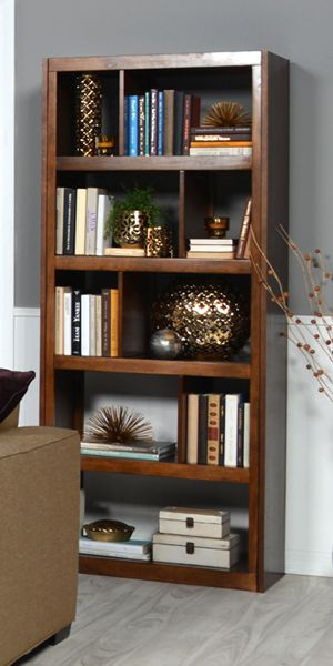 Use your imagination when filling the keyhole shelves on the Lobink bookshelf. Shop online now. #LivingSpaces