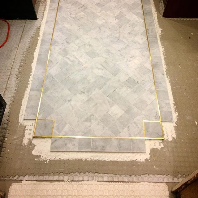 Brass Inlay W Marble For Shower Marble Tile Floor