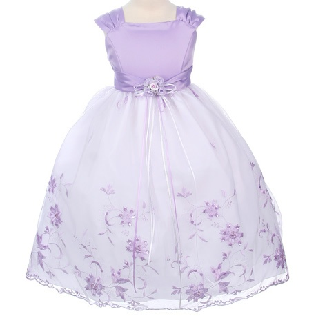 Flower Girl Dresses - Easter Dresses - MB106 - Lilac Satin and Embroidered Floral Design Dress