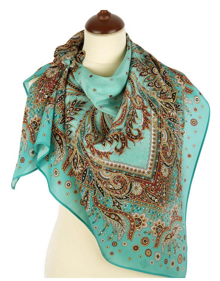 Silk shawl ''Coral Breeze'' | RusClothing.com  #green #silk #floral #pattern #scarf #kerchief #headscarf #shawl