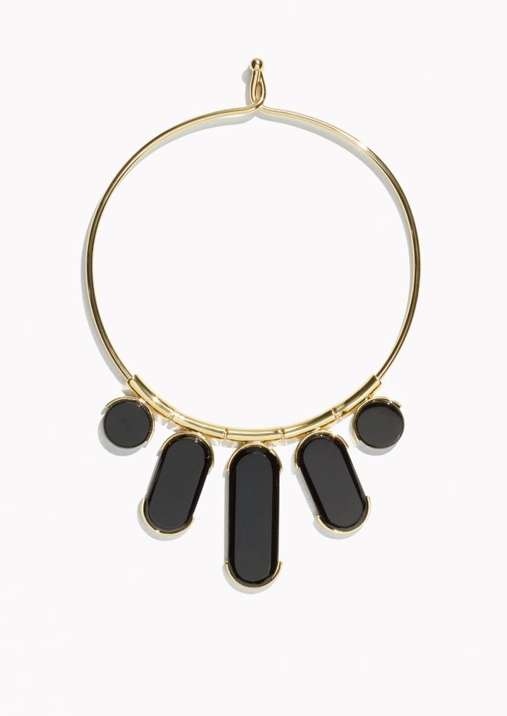 Other Stories Charm Stone Choker in Black