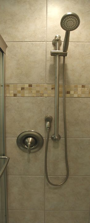 This is the hand held shower bar we chose but we have a different hand held shower head. The connections on the wall seem a little closer together than I'd like. Maybe this was the only option due to limited wall space?