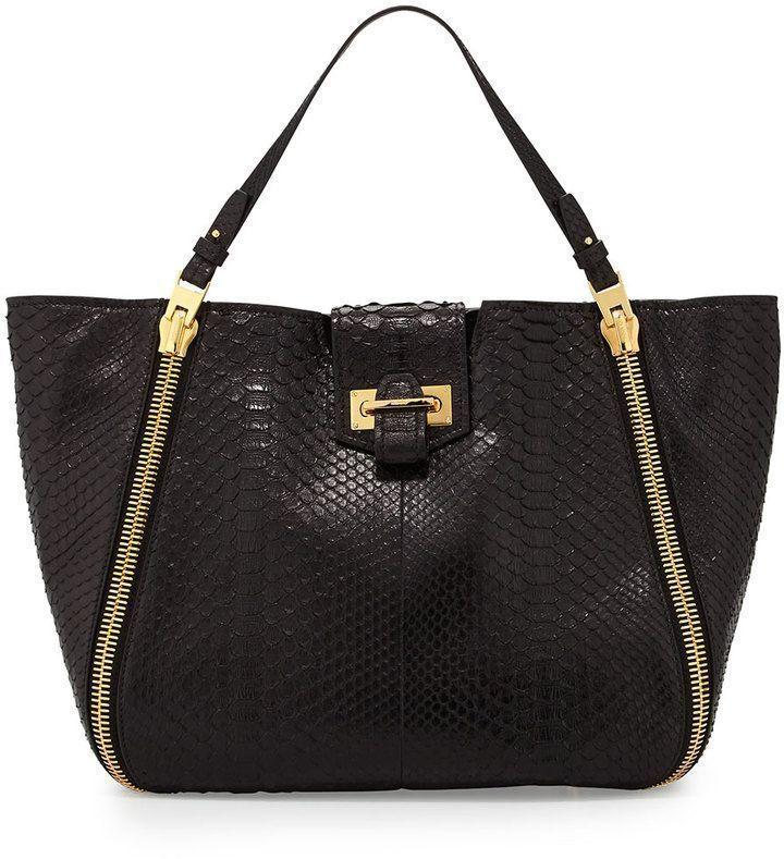 422185f5150 Tom Ford Sedgwick Medium Python Zip Tote Bag