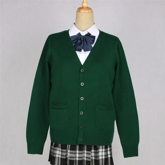 17 Colors High Quality Japanese Style Students School Uniform Girl Women Sweater Long Sleeve JK School Uniforms Cardigans