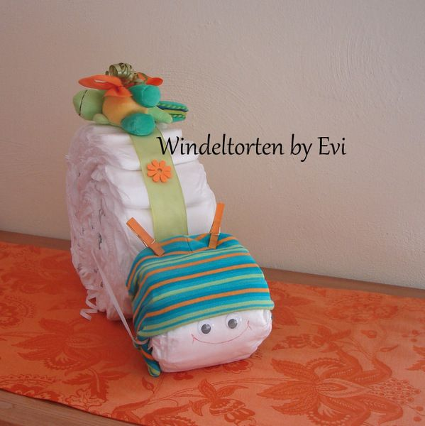 diaper snail for boy - in 'spring colors'