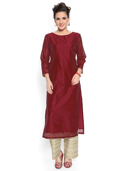 Buy Admyrin Admyrin Maroon Cotton Silk Kurta with Pant for Women Online India, Best Prices, Reviews | AD371WA42KTLINDFAS