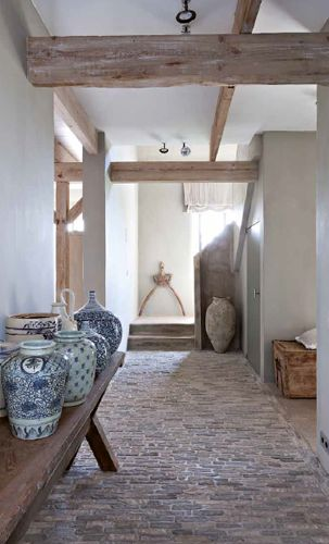 ♂ natural neutral interior design hallway with rusty brick floor