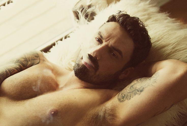 Photo Credit: Christine Dirkschneider Male model, tattoos, beard, smoking, summer