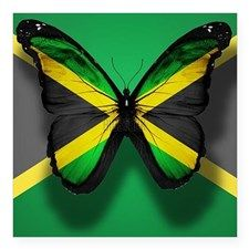 """Jamaica Flag Butterfly, Iso Square Sticker 3"""" x 3"""" for"""