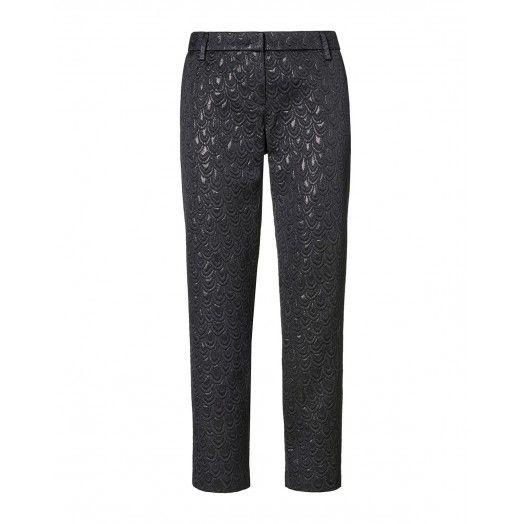 Pantaloni, in matelass� lurex, con disegno piuma, tasche all'americana davanti e taschino a filetto dietro. 4N2TS53T6 BLACK