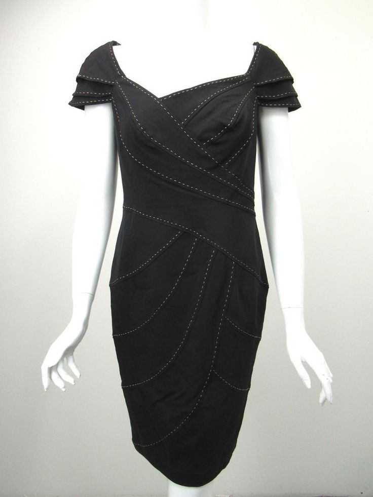 TADASHI SHOJI Black Faille Beige Pick Stitch Trim Portrait Neck Sheath Dress 8 #Tadashi