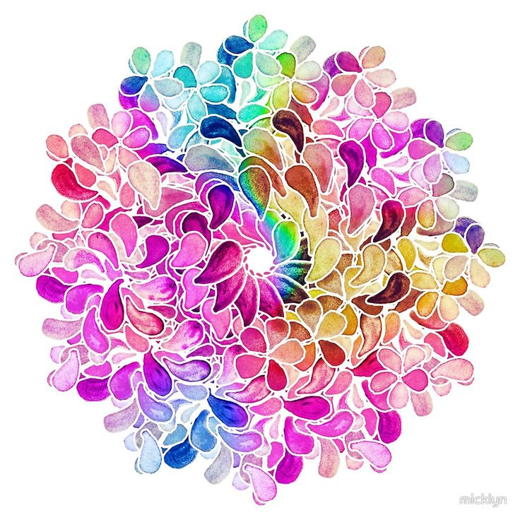 Rainbow Watercolor Paisley Flower by Micklyn Le Feuvre