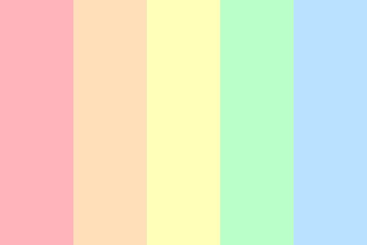pastel colors of the rainbow