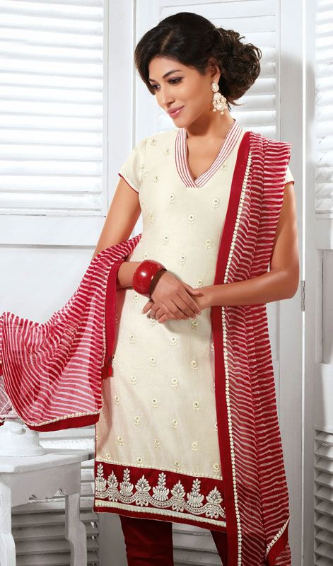Cream Shade Cotton Silk Chudidar Dress Price: Usa Dollar $103, British UK Pound £61, Euro76, Canada CA$110 , Indian Rs5562.
