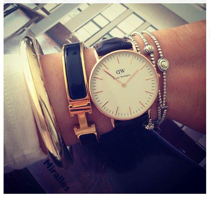 Hermes bracelet and Daniel Wellington Classy Sheffield Lady watch -- Rose Gold.  Beautiful, understated watch.