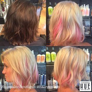 blonde hair with pink peekaboos - Google Search
