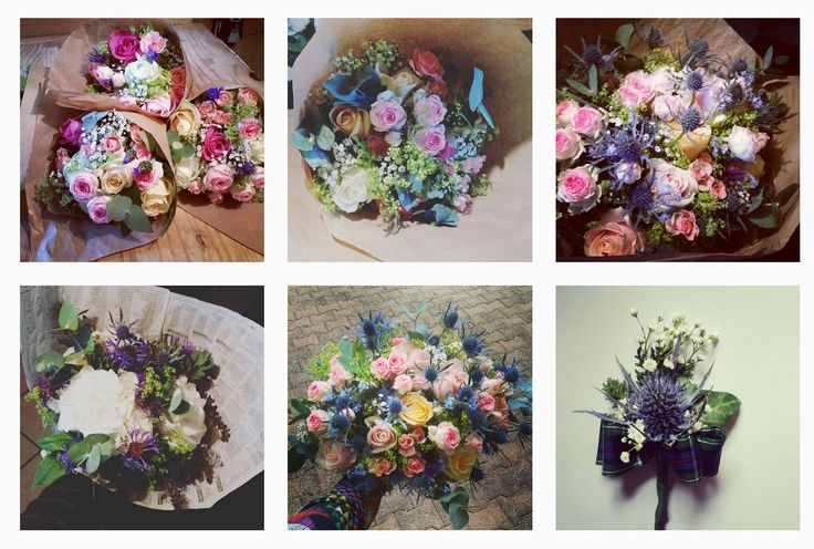 Scottish wedding. Thistle rose rustic bouquet for boho bride. Hydrangea centaurea bouwuet for the brides mum and rose centaurea for bridesmaids. Thistle boutonniere for the scottish men!
