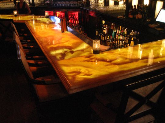onyx bar top backlit with light tape