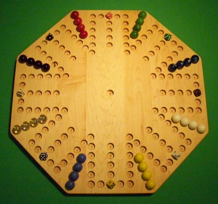 "Wooden Marble Game Board - Aggravation <br>- 22"" Octagon, Hard Maple<br>- 8-Player - 6-Hole - Oiled"