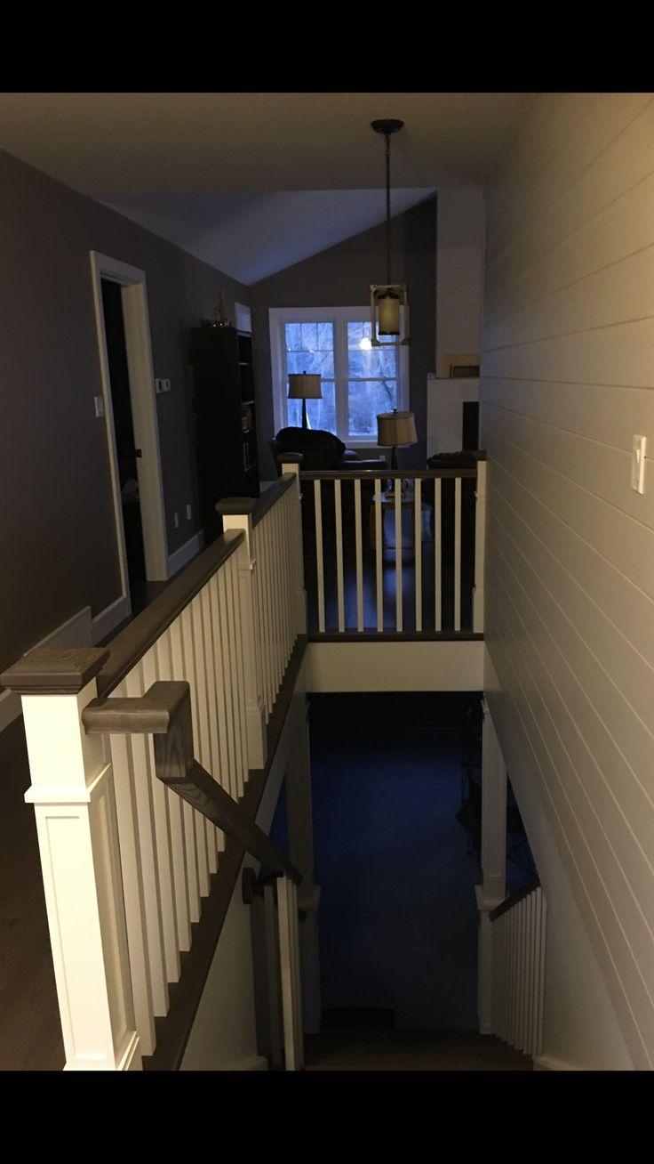 Craftsman railings, ship lap accent wall