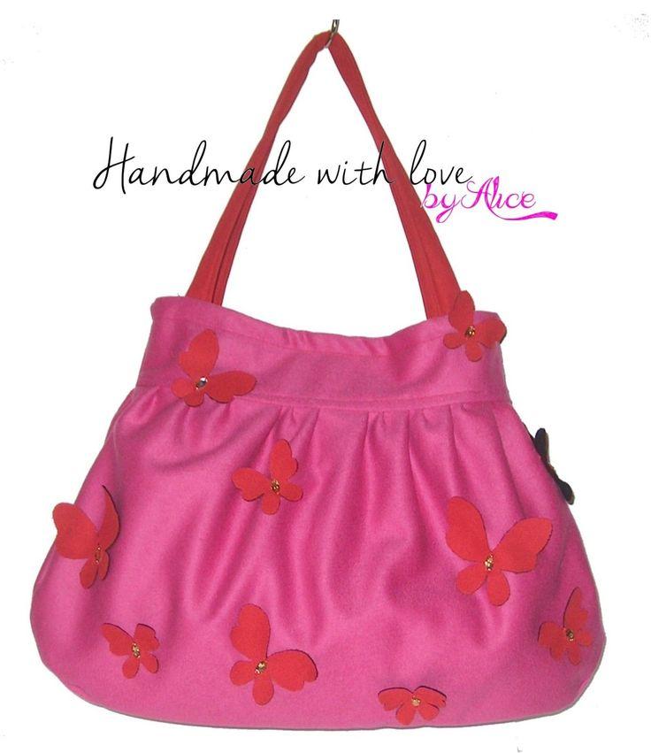 Borsa Rosa Rossa Farfalle Artigianale Nuova bag Butterlies Sac IDEA REGALO in Abbigliamento e accessori, Donna: borse | eBay