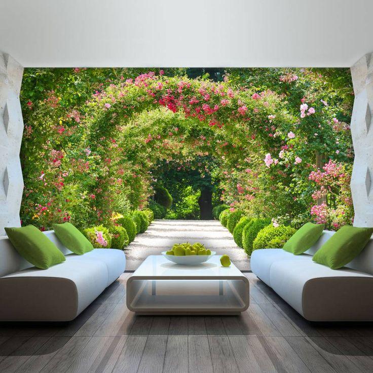 vlies tapeten fototapete wandbild tapeten garten natur blumen tunnel 2731 ve dekorationshop. Black Bedroom Furniture Sets. Home Design Ideas