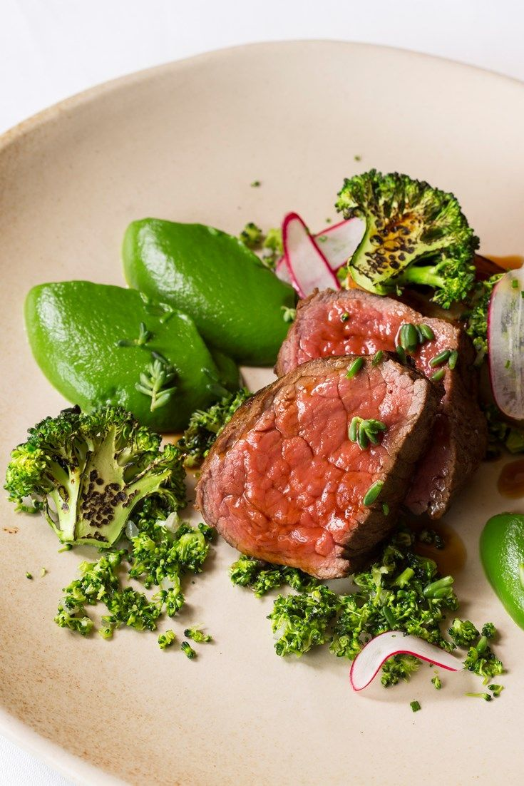 An inspiring sous vide beef and blue cheese recipe from chef Ollie Moore, this beautiful dish is paired with vibrant broccoli, cooked three ways, to complement the tender beef rump.