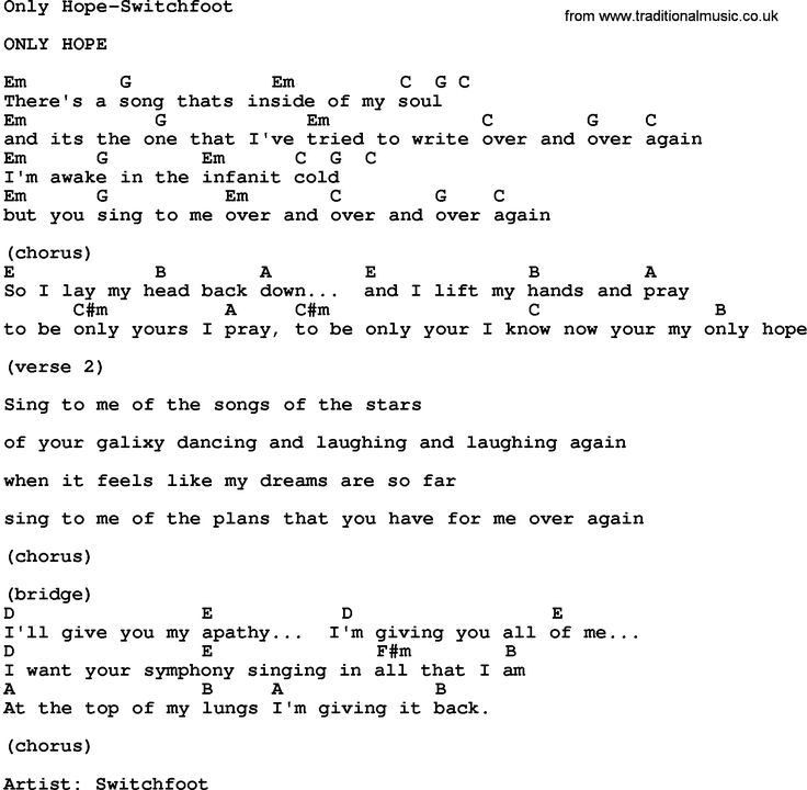 Gospel Song: Only Hope-Switchfoot, lyrics and chords.
