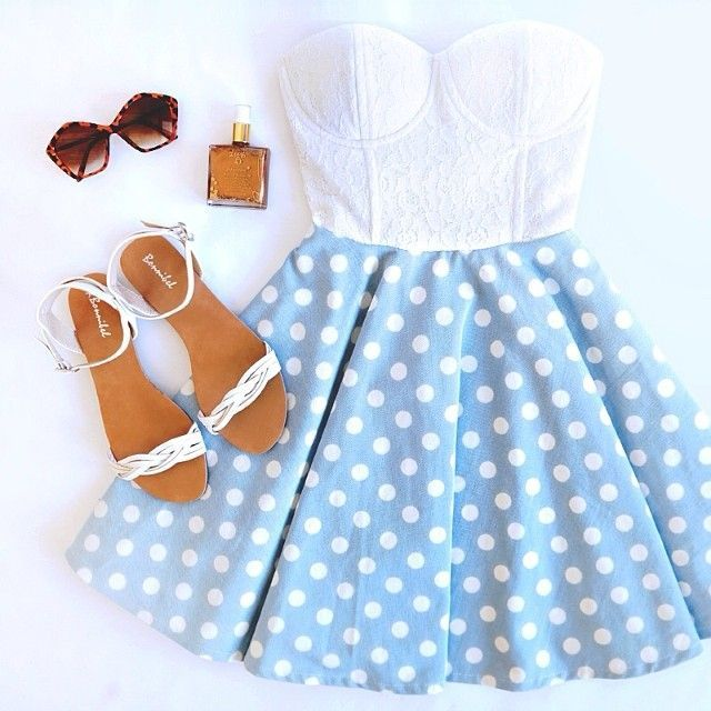 strapless dress with white bustier and white and light blue polka dot skirt and white sandals