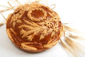 Russian wedding bread - karavaj Beautiful traditional russian wedding bread.