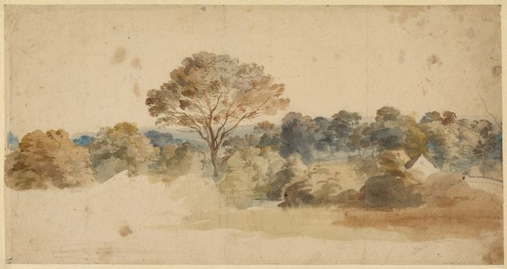 Landscape; Anthony van Dyck (Flemish, 1599 - 1641); 1640 00:00:00; Pen and brown ink and watercolor; 18.9 × 36.4 cm (7 7/16 × 14 5/16 in.); 85.GG.96; J. Paul Getty Museum, Los Angeles, California
