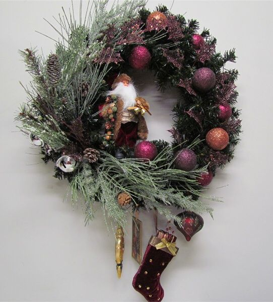 Frosted pine needles look great against autumnal colours. Vintage wreath by Miss Haberdash.