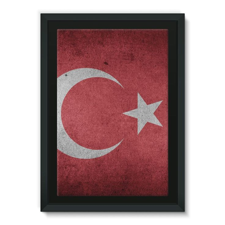 Grunge Turkey Flag Framed Eco-Canvas