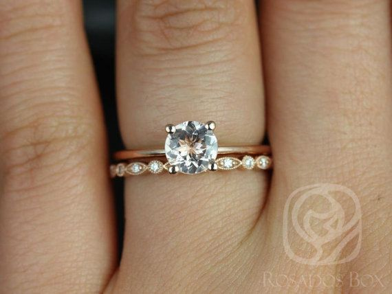 Skinny Alberta 6mm & Ultra Petite Bead Eye 14kt Rose Gold Round Morganite and Diamond Wedding Set (Other metals and stone options available)