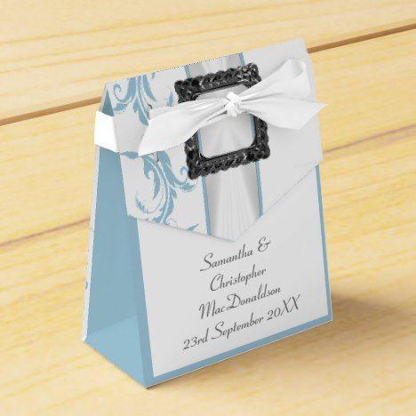 Plain pastel blue and white damask lace wedding favor box