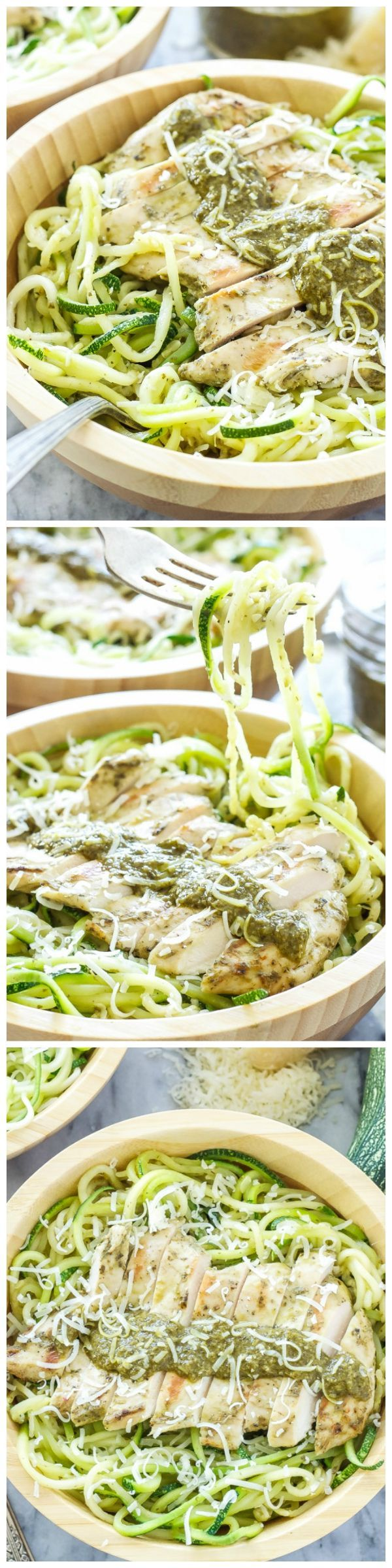 Pesto Chicken with Zucchini Noodles - Juicy chicken marinated in pesto is the perfect protein to top these healthy and delicious zucchini noodles! A fast and easy alternative to your regular pasta dinner! #zoodles