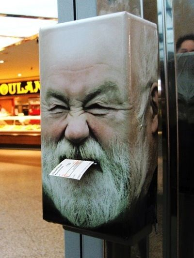 Get your Trolly card every morning from him...Street Art from Berlin....