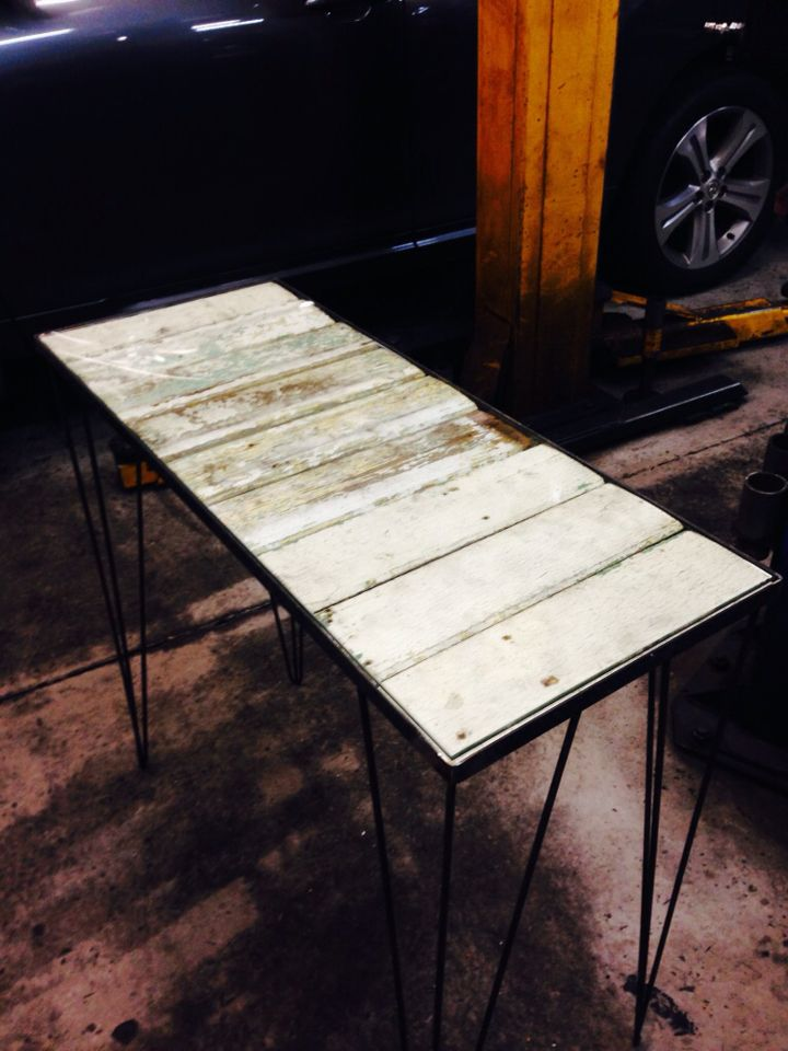 Industrial glass top hall table - 100 year old ceiling timbers, custom hairpin legs.