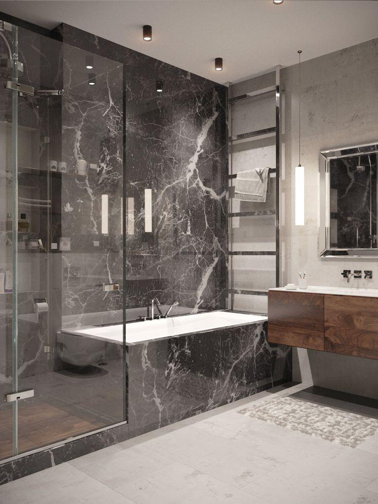 ванная комната с мраморным рисунком