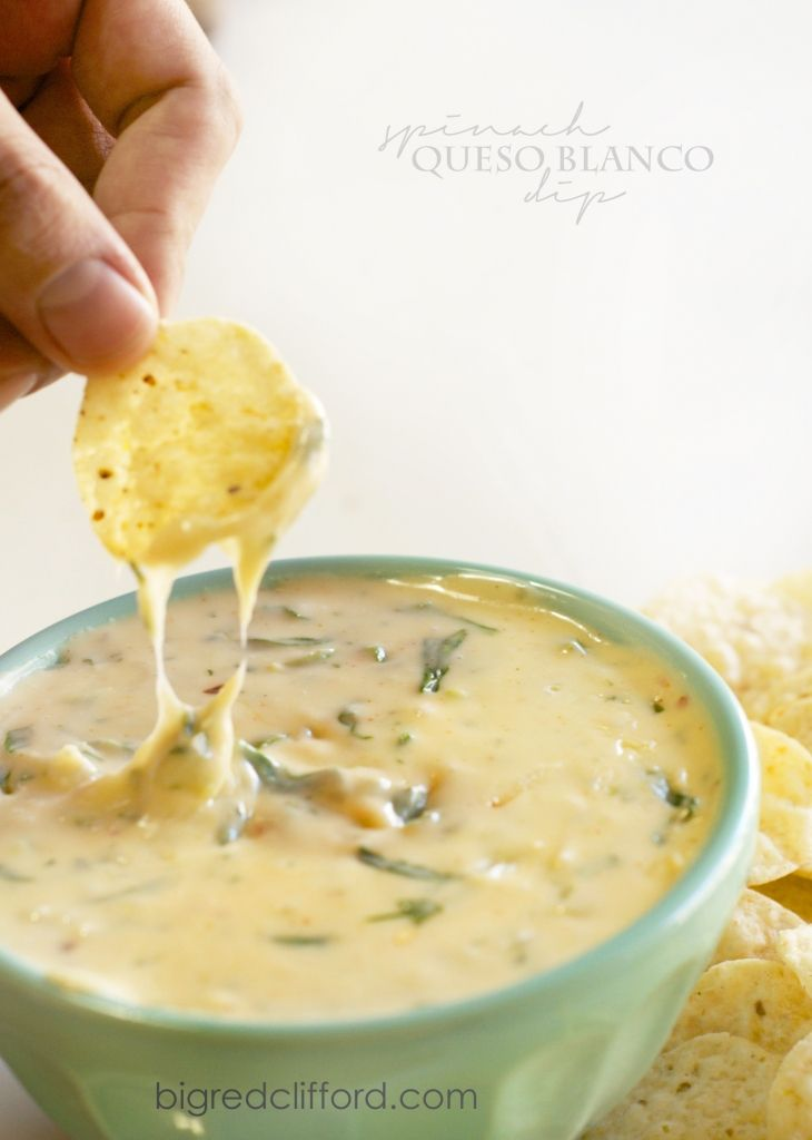 spinach queso blanco white cheese dip recipe perfect for a cinco de mayo party! best mexican food appetizer