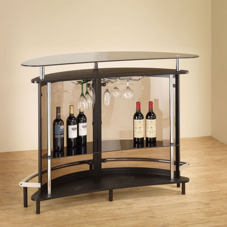 Glass Bar Table Shelves Curved Tinted Wine Rack #Coaster #Space