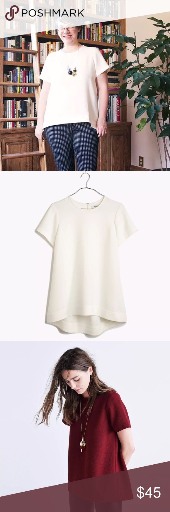 Madewell Tailored Tee White $80 Madewell Tailored Tee White Sz M  With its feminine drape and higher-in-front hem, this is the T-shirt refined.   Slightly swingy, A-line fit. Poly. Machine wash. Import.  Model just to show fit - listing is for white shirt. Madewell Tops