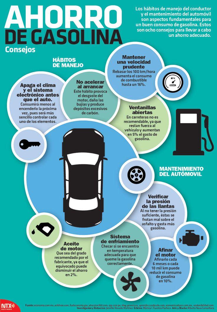 ¿Sabes cómo ahorrar gasolina? Aquí te damos 8 consejos. #Infografia