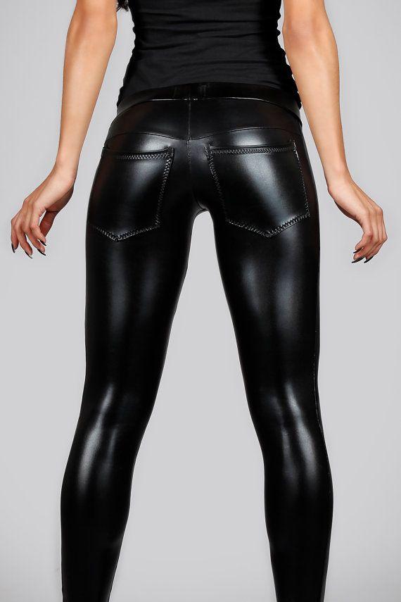 Leder-Leggins w. Jeans zurück schwarz Spandex von LenaQuistDesign Les leggings Lena Quist sont unisexe
