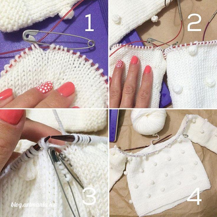 Мастер-класс реглан снизу вверх «Детский свитер с шишечками» стыковка деталей свитера