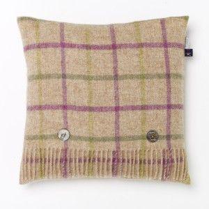 British Wool Cushion Windowpane Multi Green #wool #country