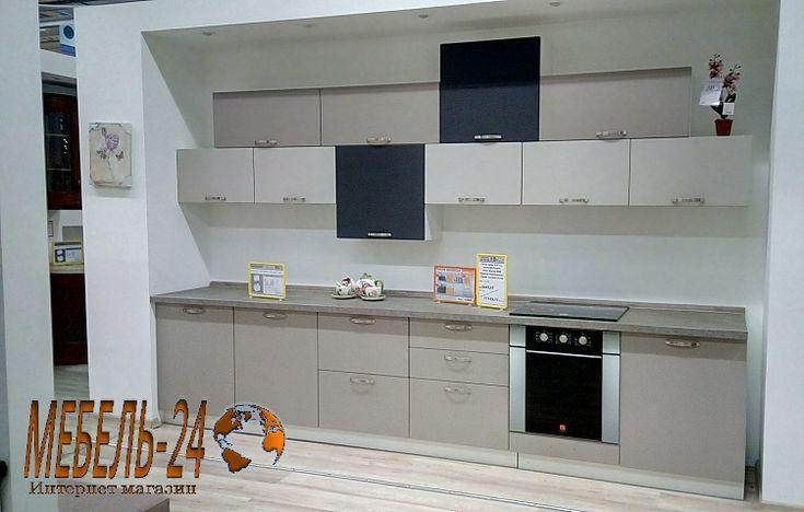 Кухня прямая фото, в стиле модерн чёрно-серая, на заказ в Киеве недорого, от производителя Мебель-24